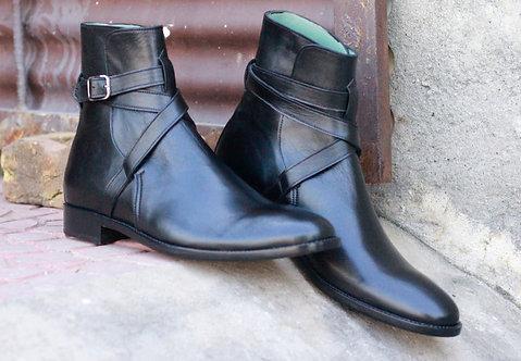 Plain Black Ankle High Jodhpurs Leather Boot
