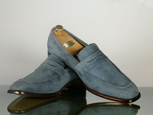 Handmade Men's Penny Gray Suede Loafers Shoes