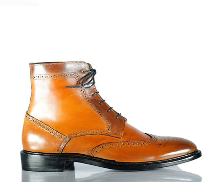 Men's Handmade  Leather Boots Retro Designer Mustard Boots