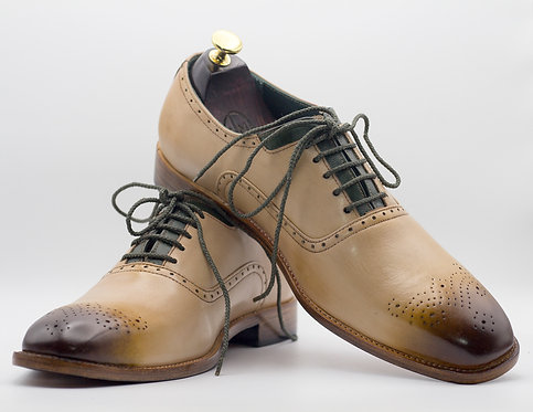 Men's Handmade Pointed Toe Beige Leather Lace Up Shoes
