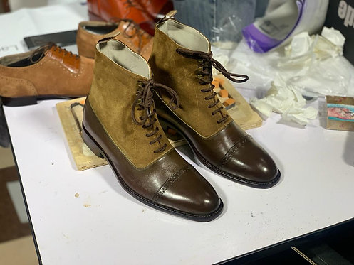 Lace Up Cap Toe Ankle High Brown Leather Suede Boot