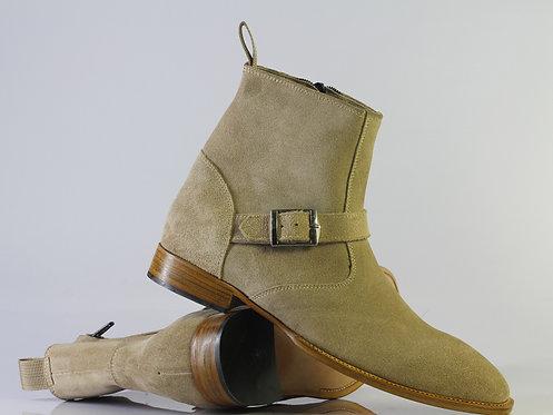 Handmade Beige Men Ankle Jodhpurs Dress Suede Boot