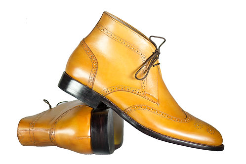 Handmade Men's Half Ankle Wing Tip Leather Tan Boot