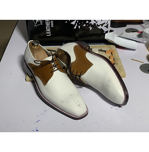 Handmade Men's Oxford Two Tone Leather Shoes White Brown Dress Stylish Shoe