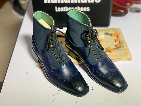 Navy Blue Ankle High Wing Tip leather Suede Boot