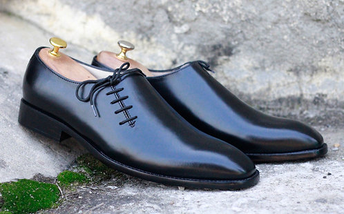 Oxford Black Side Lace Up Leather Shoes