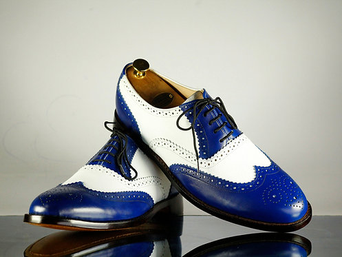 Handmade Mens Shoes White Blue Wing Tip Leather Shoes