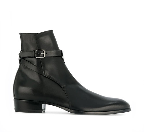Men's Jodhpurs Black Leather Boots Buckle Designer Boots