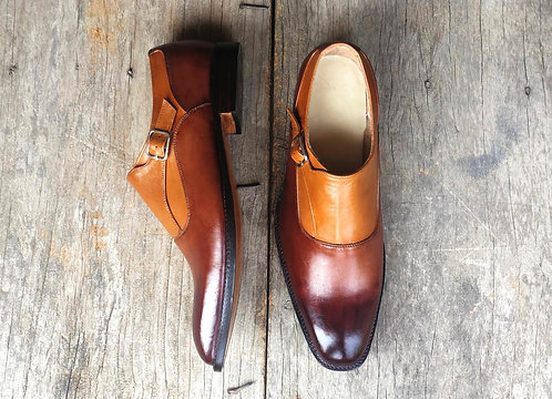 Men Bespoke Men Two Tone Dress Leather Buckle Shoes