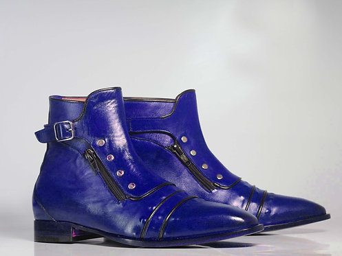 Men's Blue Cap Toe Leather Ankle Button top Boot