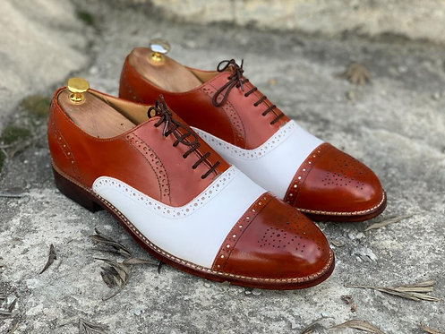 Elegant Brown & White Lace UP Brogue Cap Toe Shoes