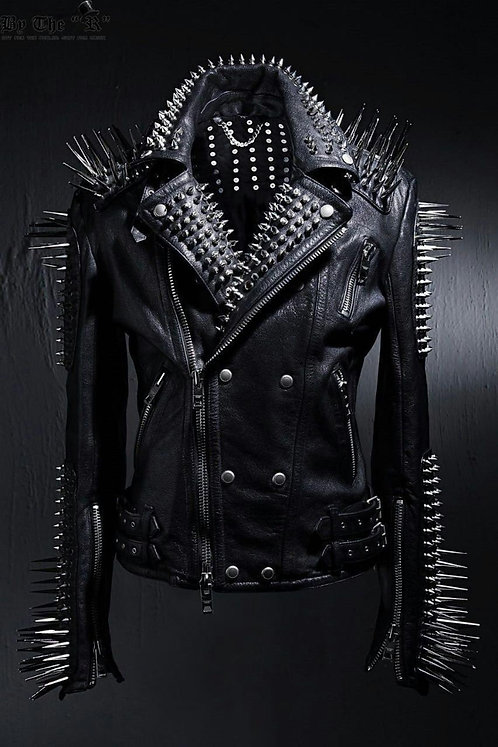 Women Handmade Full Black Punk Silver Long Spiked Studded Jacket