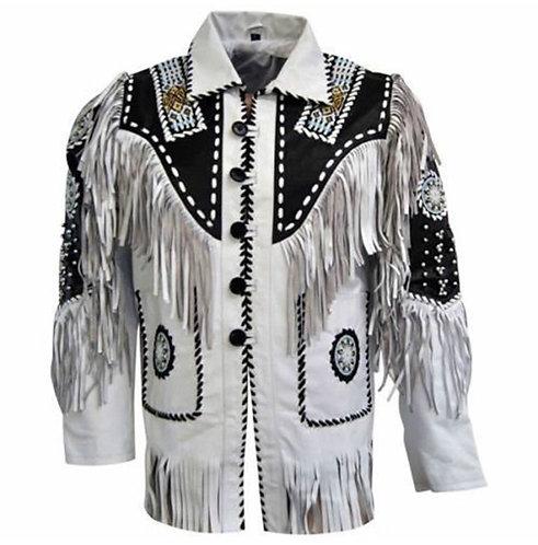 Mens Cowboy Suede Leather Jacket Western Coat Fringes Beads, Cowboy Jacket