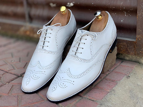 Classical White Wing Tip Brogue Leather Shoes