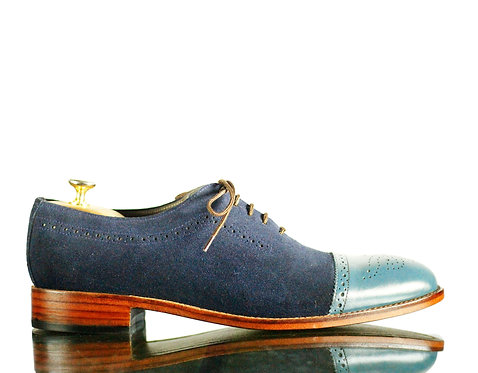 New All Suede Leather Men Navy Cap Toe Shoes