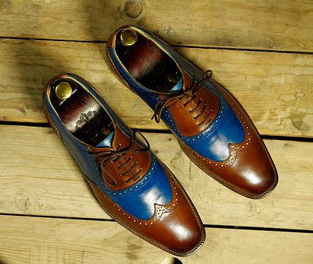 Handmade Men's Blue & Brown Wing Tip Dress Shoes