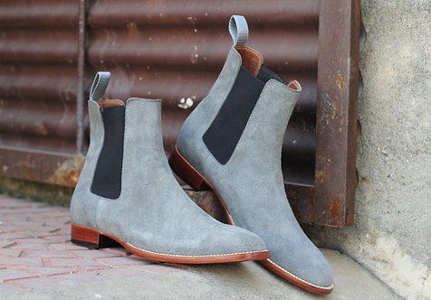 Stylish Gray Chelsea Suede Leather Ankle High Boot
