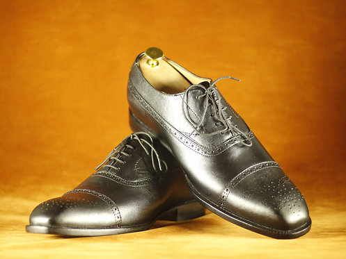 Handmade Men Black Cap Toe Leather Oxford Shoes
