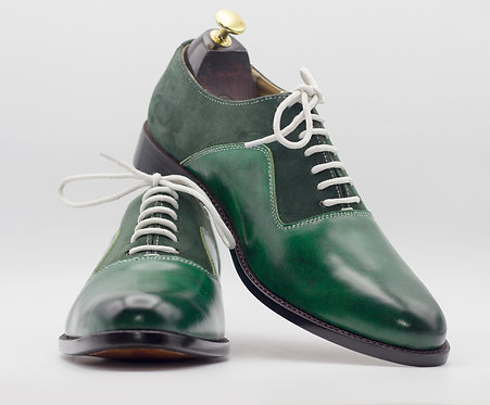 Men's Green Lace Up Leather Suede Brogue Handmade Shoes
