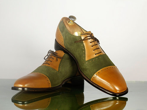 Handmade Olive Green & Yellow CapToe Oxford Leather Suede Shoes