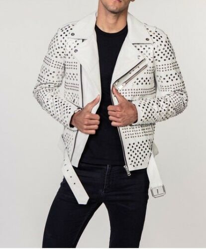 Handmade Men's Punk Style White Sliver Studded Brando Biker Leather Jacket