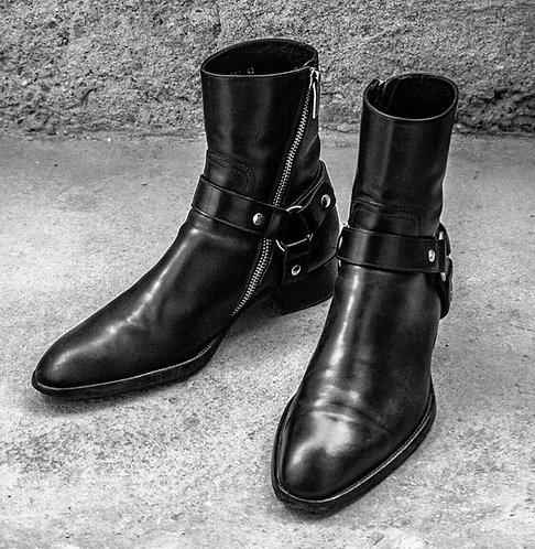 Handmade Mens Black Leather Ankle boots, Side zipper Rock style boots for mens