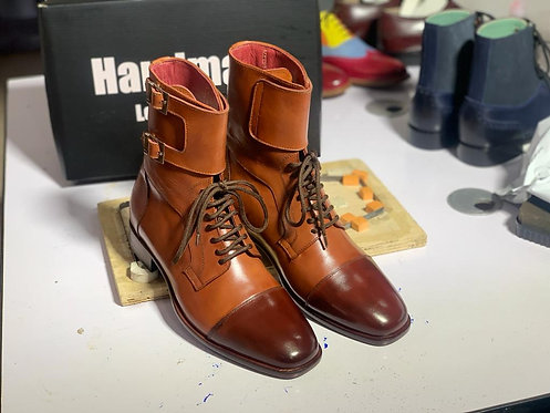 Cap Toe Two Tone Ankle High Lace Up Tan Leather Boot