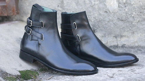 Pure Black Ankle High Buckle Strap Leather Boot