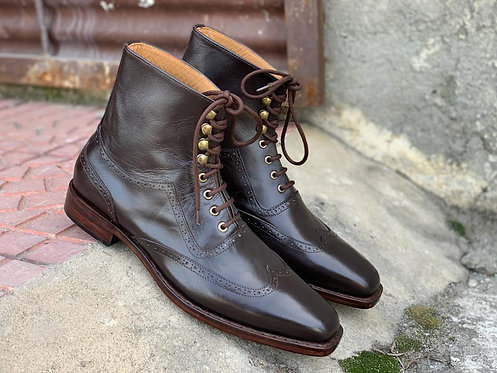 Classy Wing Tip Black Ankle High Leather Boot