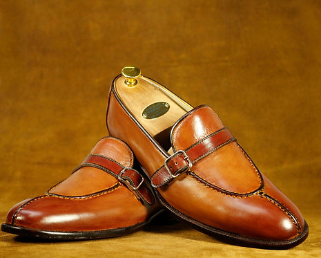 Men's Brown New All Leather Split Toe Monk Shoes