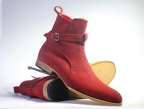 Men's Bespoke Burgundy Jodhpurs Boots Suede ankle boot