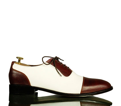New All leather Men Oxford Shoes Brown White Shoes