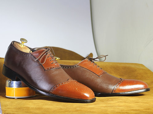 Classy Two Tone Cordovan Leather Lace Up Shoes