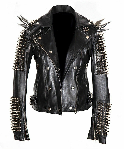 Men Silver Studded and Long Spiked Leather Jacket, Halloween Leather Jacket, Men
