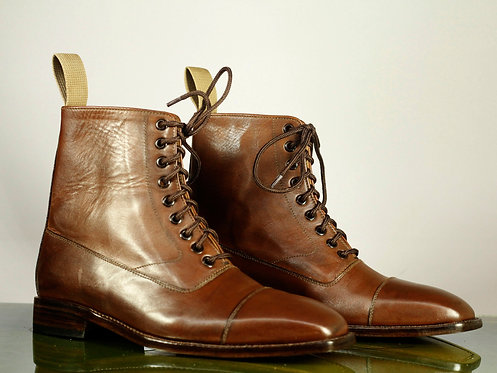 Men's Handmade  Brown Cap Toe Leather Boots Ankle designer Boots