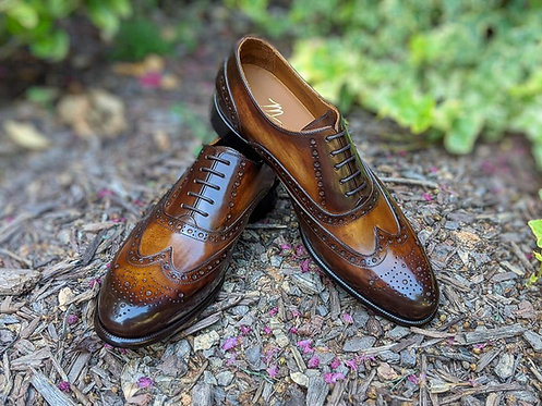 Handmade Tan Wing Tip Lace Up Brogue Toe Shoes For Men