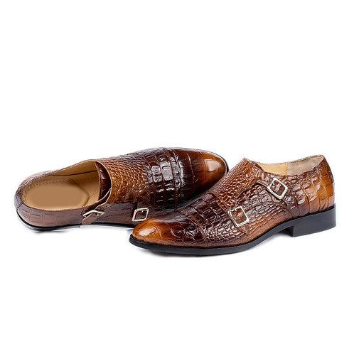 Handmade Double Monk Alligator Texture Leather Men's Shoes