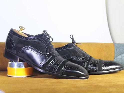 Handmade Men Black Cap Toe Leather Suede Oxford Shoes