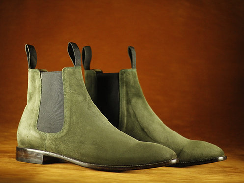 Men's Handmade Olive Green Chelsea Boots Slip On Suede Boot