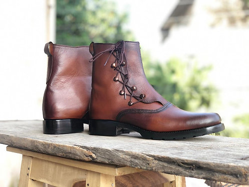 Brown Ankle High Lace Up Whole Cut Leather Boot