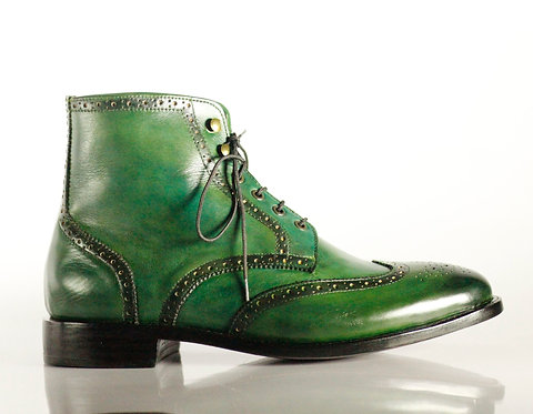 Green Men's Handmade  Leather Boots