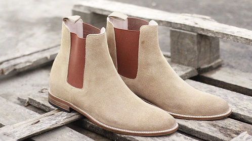 Pure Leather suede Beige Ankle High Chelsea Boot