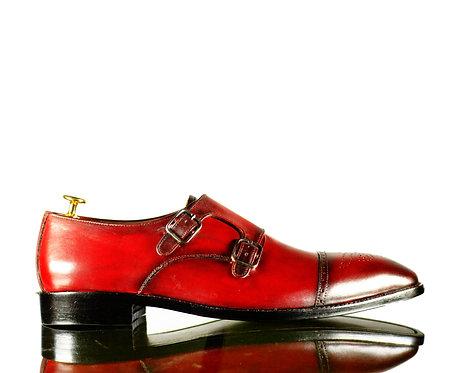 New Burgundy Handmade Men Monk Leather Buckle Shoes