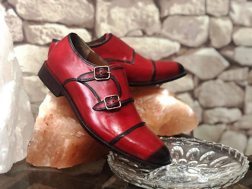 Handmade Men's Burgundy Cap Toe Double Monk Oxfords Party shoes