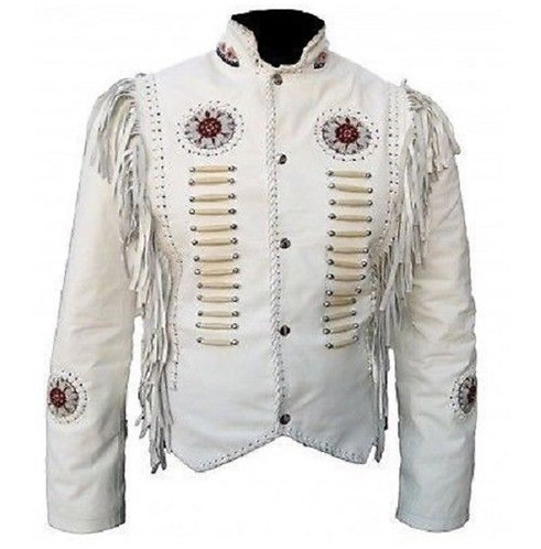 Men''s Cowboy Suede Leather Jacket Western Coat Fringes Beads Jacket
