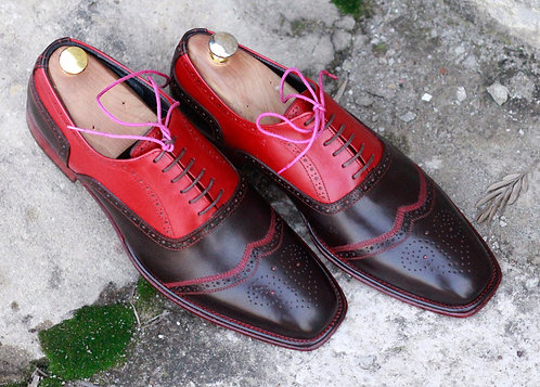 Two Tone Wing Tip Red Black Lace Up Leather Shoes