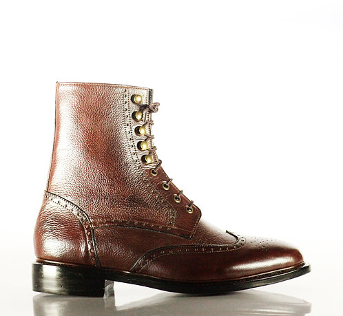 Men's Handmade  Leather Boots Lace up designer Brown Boots