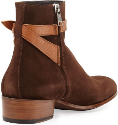 Brown Zipper High Ankle Suede Leather Jodhpurs Boots