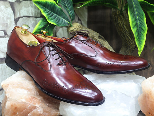 Brogue Toe Stylish Burgundy Lace Up Leather Shoes