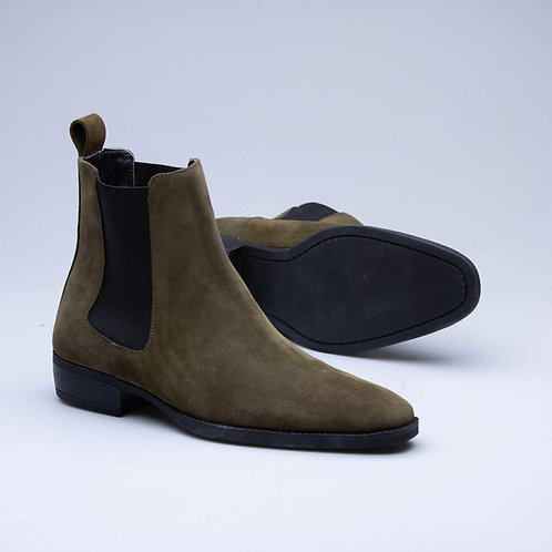 Hand Crafted Khaki Suede Chelsea Boot